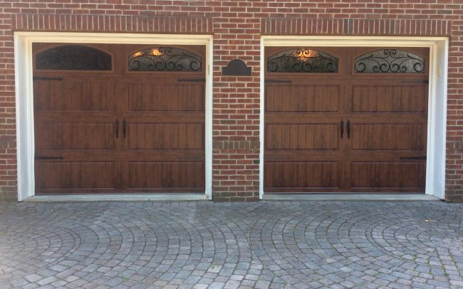 Bergenfield, NJ Garage Door Installation ( 8x7 Clopay Gallery Carriage Door) 8' X 7' CLOPAY GALLERY GD2LU CARRIAGE DOOR WITH ARCHED WROUGHT IRON GLASS, WALNUT COLOR.